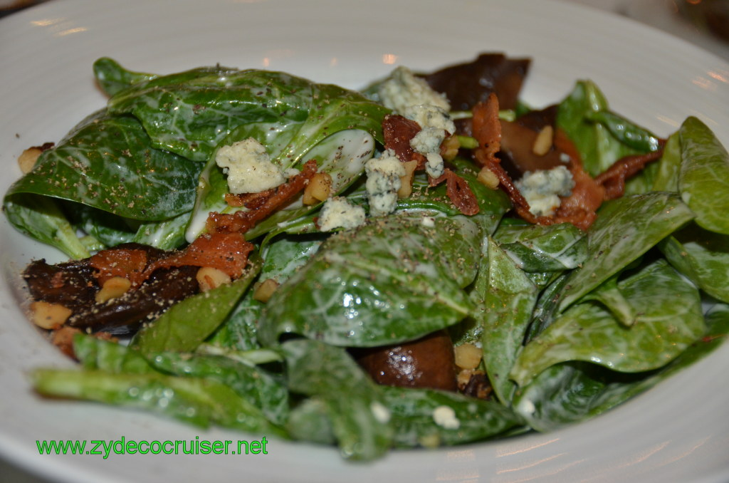 Wilted Spinach and Portobello Mushrooms with Fresh Bacon Bits