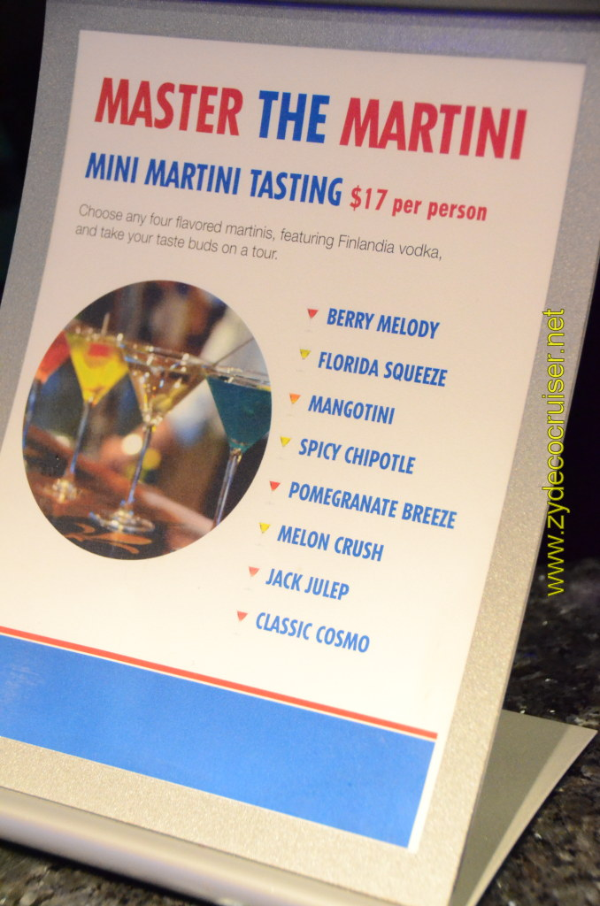 Carnival Cruise, Master The Martini, Mini Martini Tasting, $17 per person