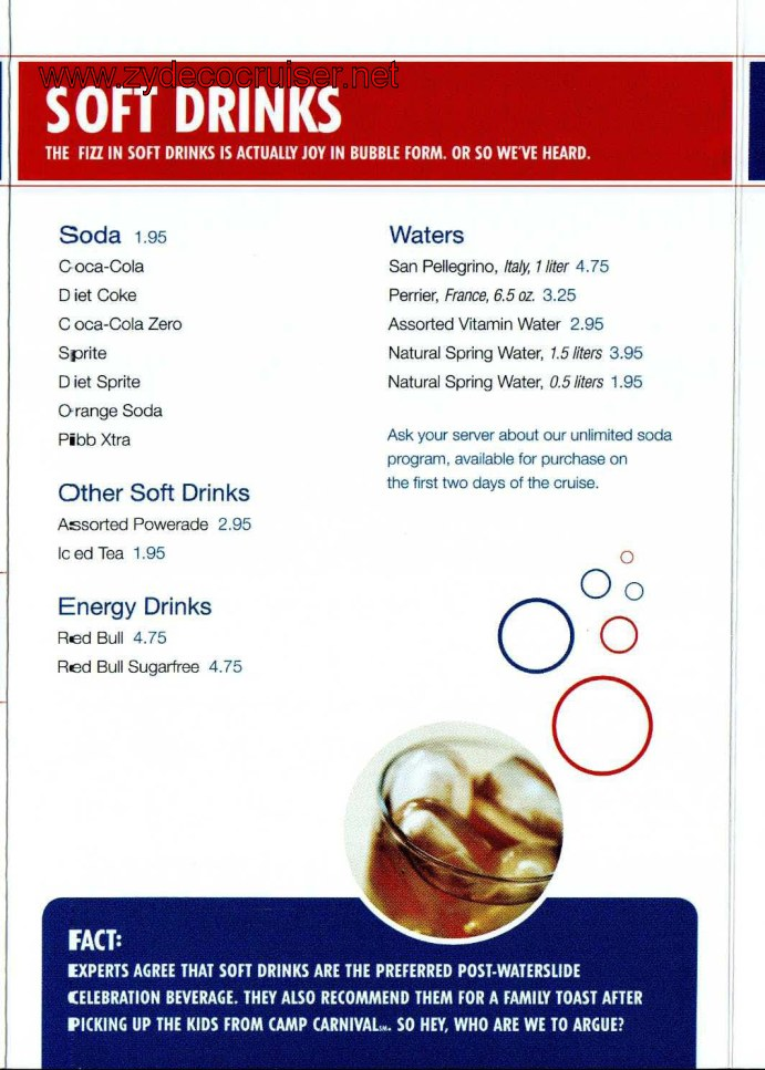 Carnival Cruise Soft Drink And Juice Price List