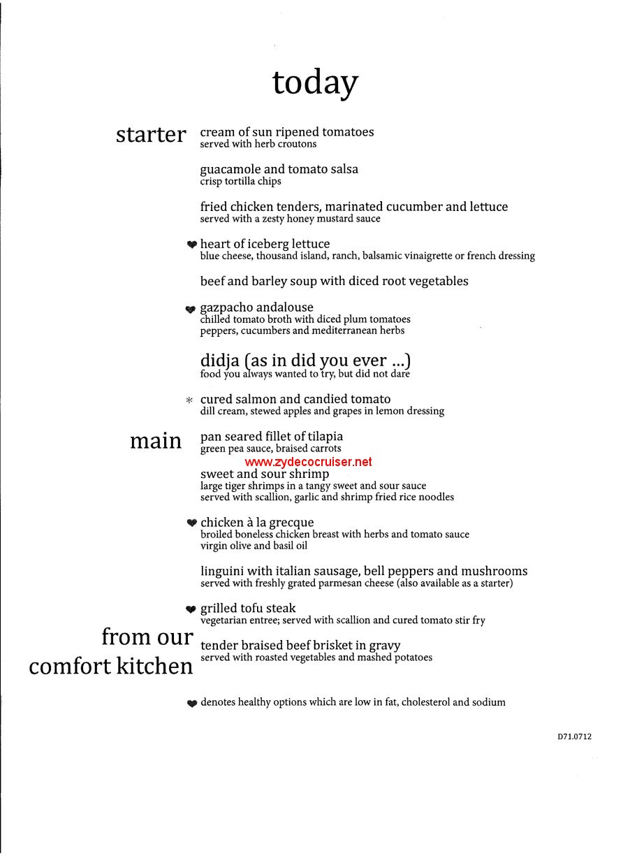 Carnival Conquest Cruise Mdr Dinner Menus Food Pictures