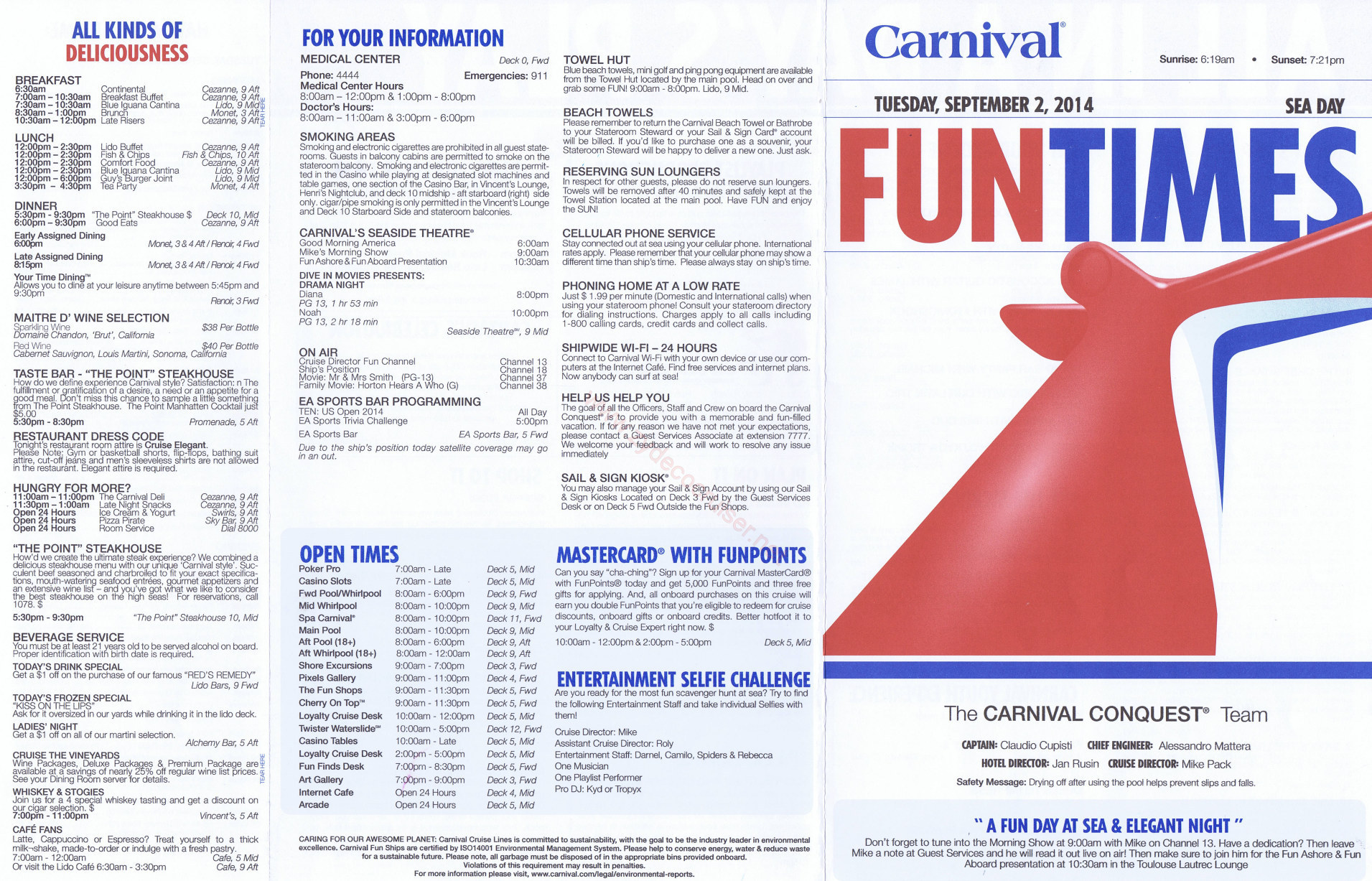 Carnival Conquest FunTimes Day 3 Sea Day Side 1