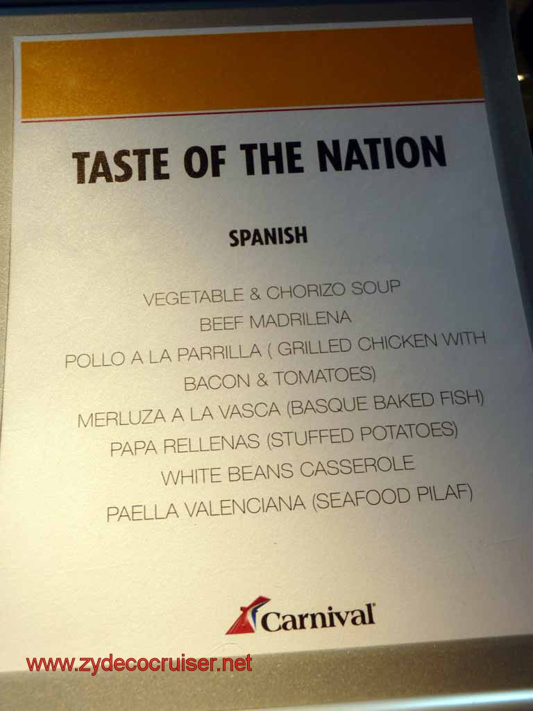 010: Carnival Cruise Lido Lunch, Taste of Nations, Spanish Menu