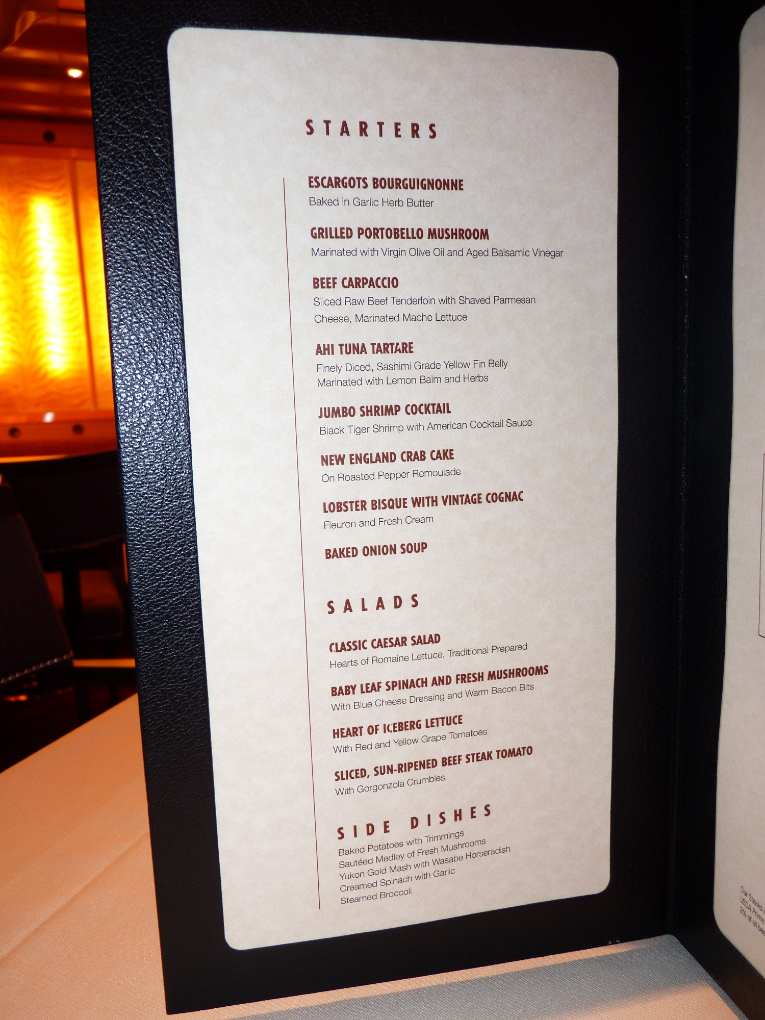 Carnival Dream Chef U0026 39 S Art Steakhouse Supperclub Menu 4