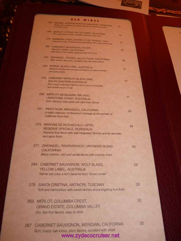 Carnival Dream Chef U0026 39 S Art Steakhouse Supperclub Wine Menu 2