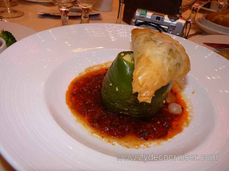 Carnival Dream - Spanakopita and Stuffed Bell Pepper (Vegetarian)