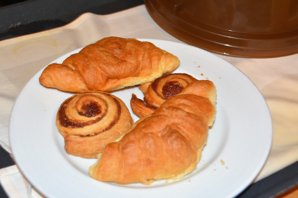 003: Carnival Dream Reposition Cruise, Cozumel, Room Service Breakfast, Croissants and Cinnamon Danish,