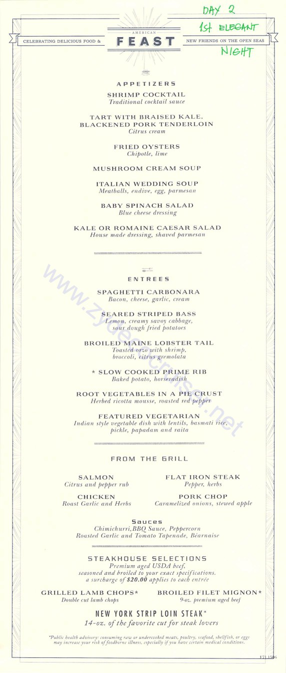 Carnival freedom mdr menus american table day 2 page 1 for Table 9 menu