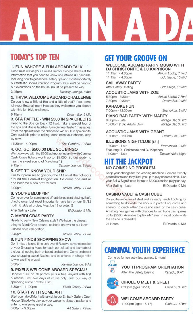 002 Carnival Imagination 4 Day Cruise Fun Times Day 1 Page 2