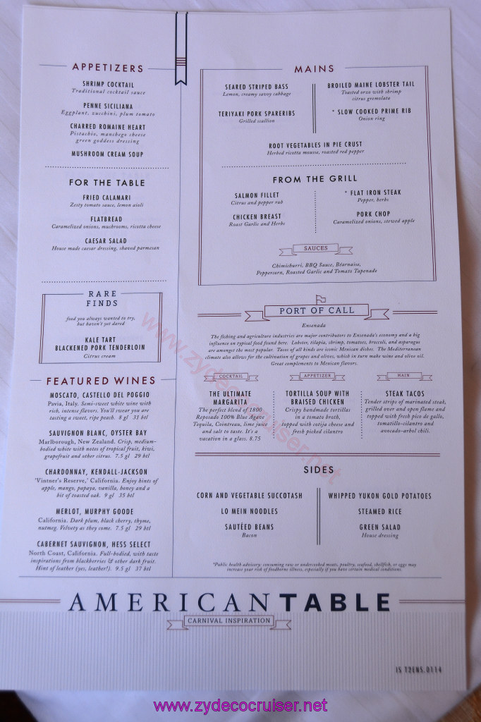 010 carnival inspiration 3 day cruise fun day at sea 1 for Table 9 menu