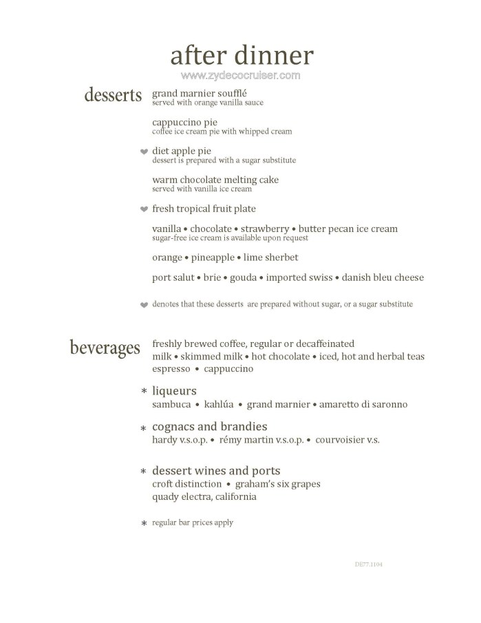 M036: Carnival Magic Transatlantic Main Dining Room Dinner Menus, Dessert 12 1
