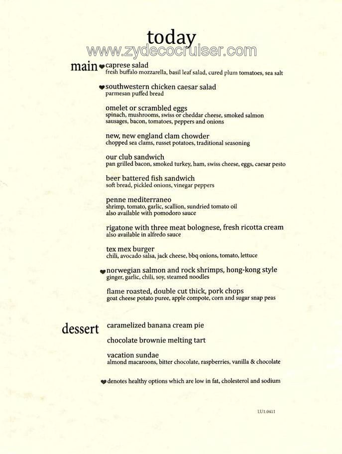 Carnival Dining Room Lunch Menu