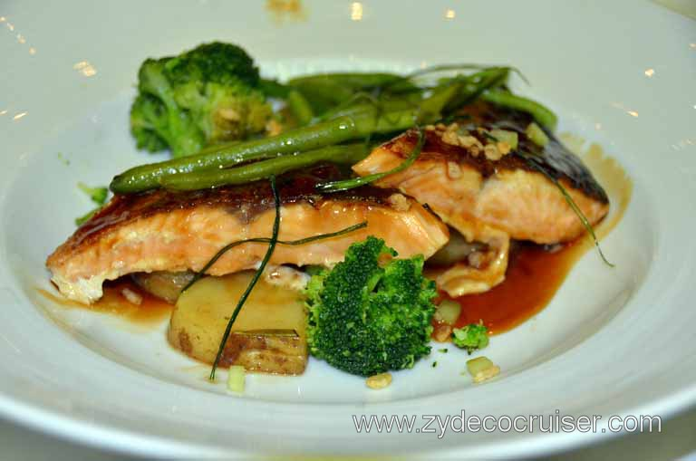 042: Carnival Magic, Main Dining Room Menus and Food Pictures, Dinner, Teriyaki Salmon