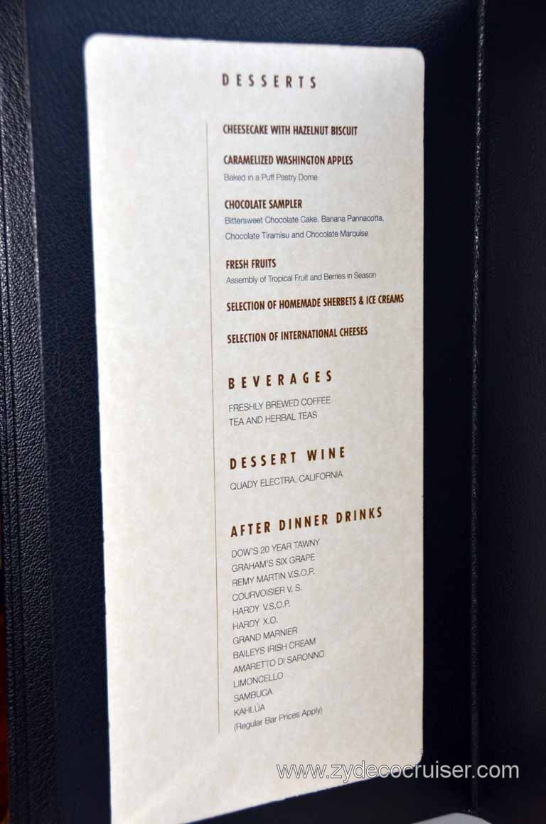 009 Carnival Magic Prime Steakhouse Menu Desserts And Beverages