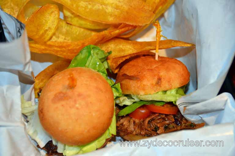 071: Carnival Magic, Mediterranean Cruise, Sea Day 3, RedFrog Pub, Jamaican Jerk Pulled Pork Sandwiches with Plantain Chips,