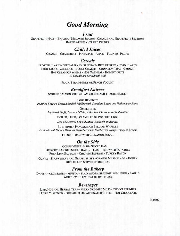 Carnival cruise dining room menu