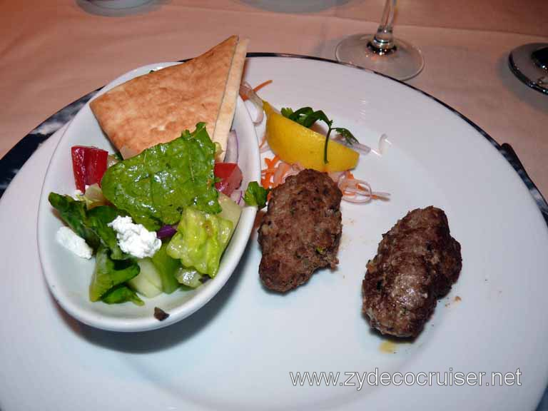 427: Carnival Spirit, Kailua-Kona, Pita Crisps and Beef Kabobs with Greek Farmer Salad