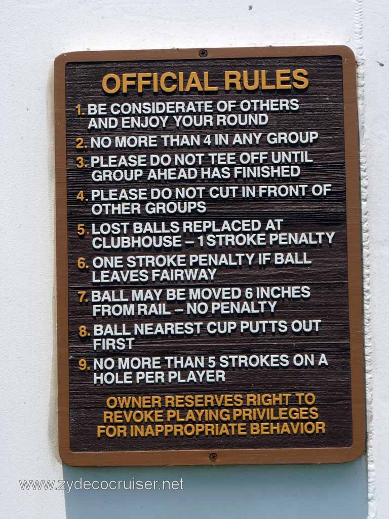 099 Carnival Spirit Sea Day 1 Mini Golf Rules