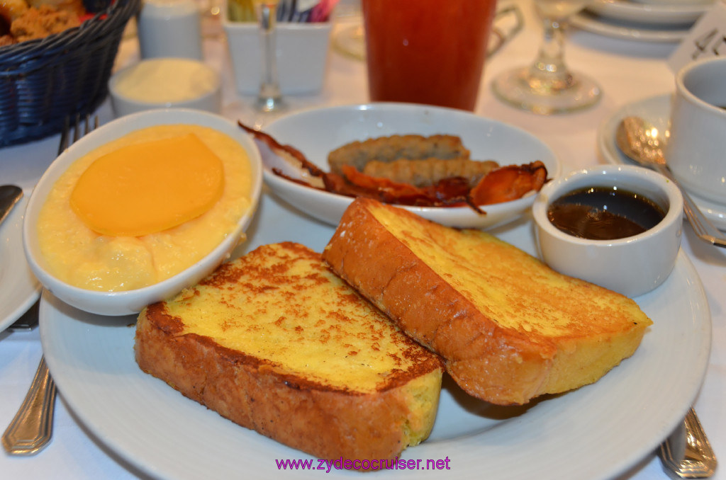 Carnival Punchliner Comedy Brunch - Plain French Toast, Cheese Grits, Bacon and Sausage,