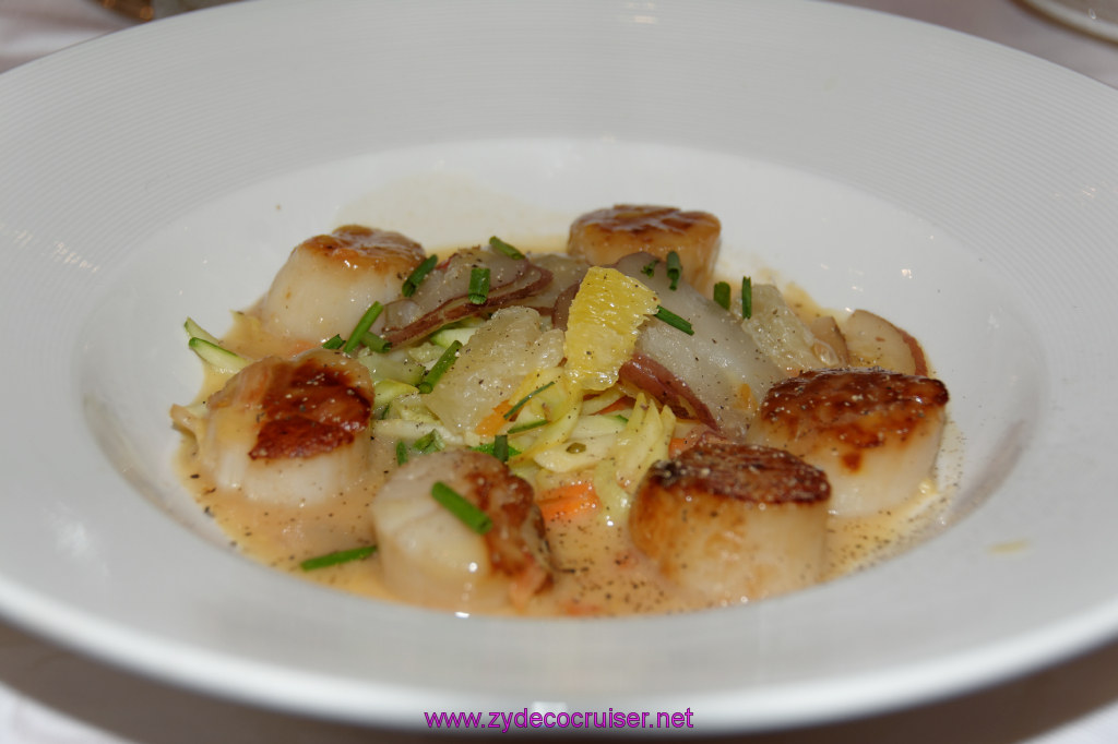 064: Emerald Princess Cruise, MDR Dinner, Seared Diver Scallops in Three Citrus Nage,