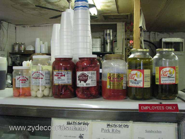018: Moon's Grocery and Deli, Homer, LA - Some delicacies - Pickled Eggs, Pickled Pigs Lips, Pork Hocks, Pigs Feet, Dill Pickles, Jalape�o Peppers