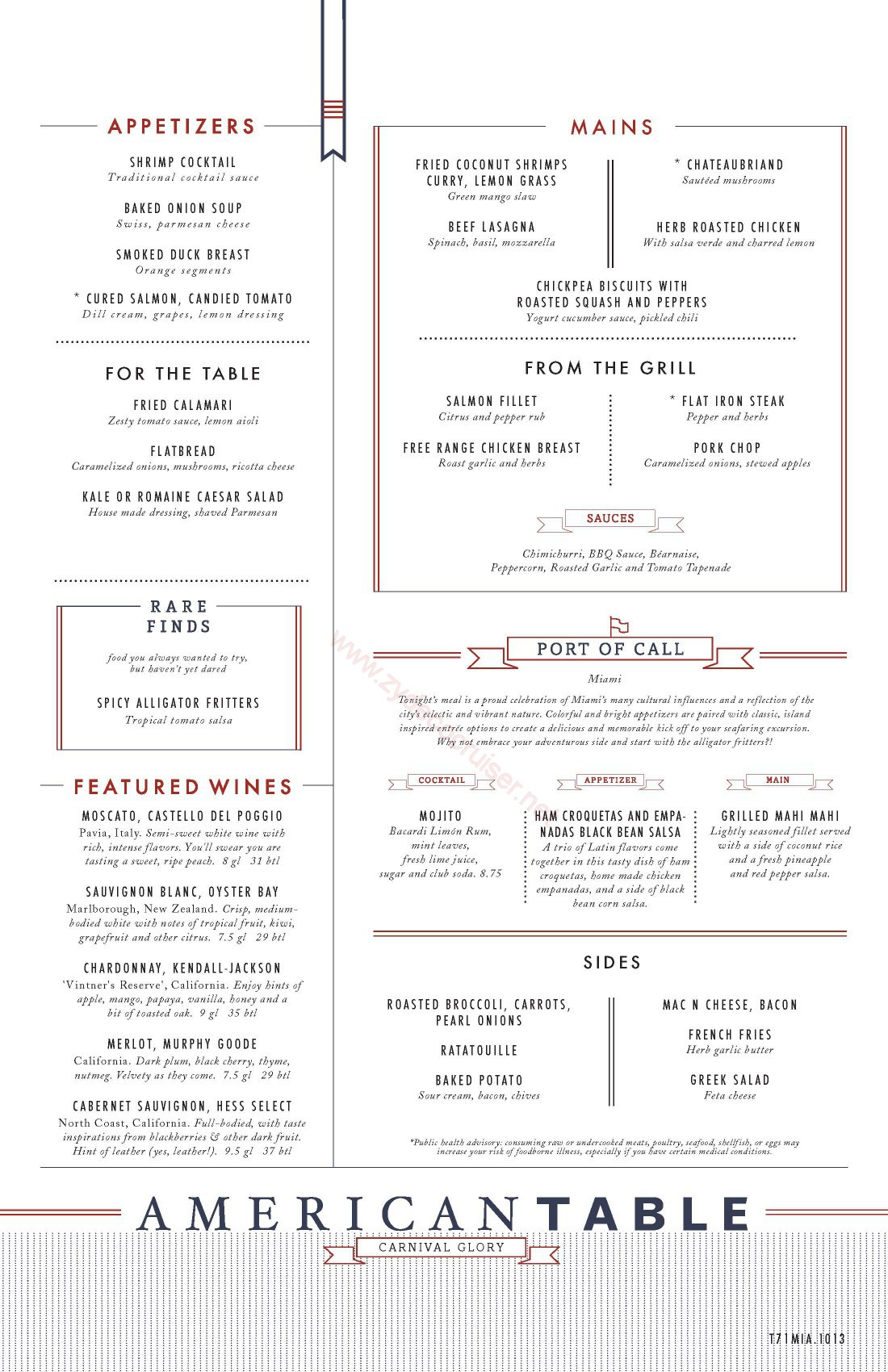 Carnival glory western american table menu miami for Restaurant table menu