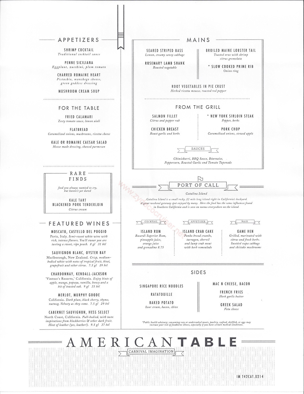 Carnival Imagination American Table MDR Menus Catalina  : IM20Day20320Catalina from www.zydecocruiser.net size 1275 x 1650 jpeg 341kB