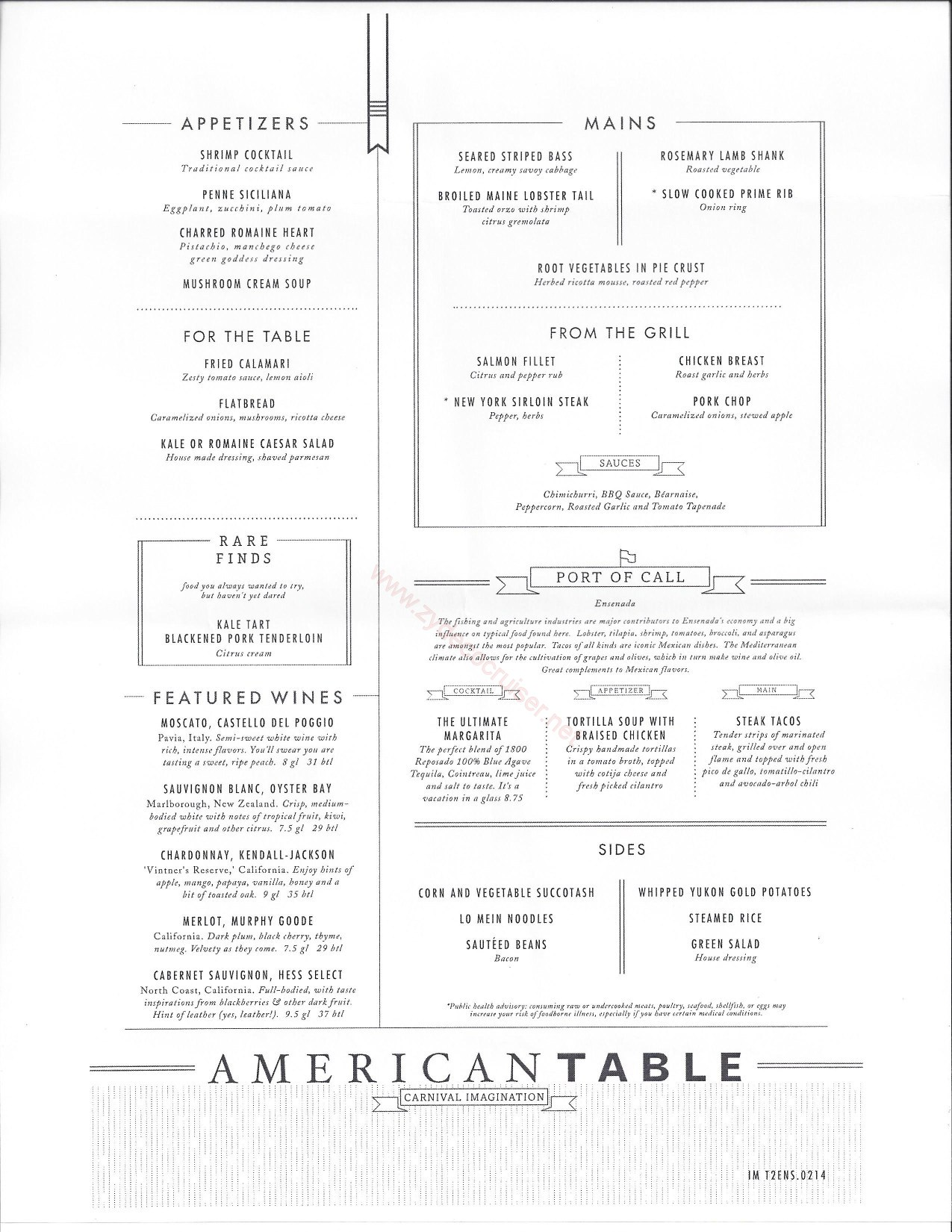 Carnival imagination american table mdr menus ensenada for The table restaurant menu