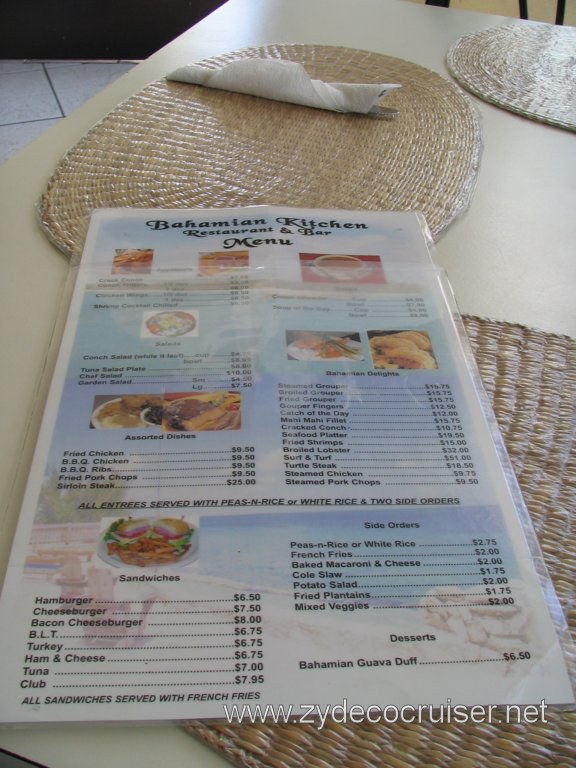 Bahamian Kitchen Restaurant Menu, Nassau, Bahamas