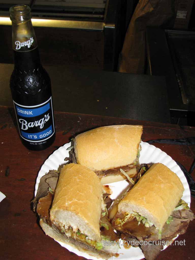 A Domilise's Roast Beef poboy and a Barq's, New Orleans