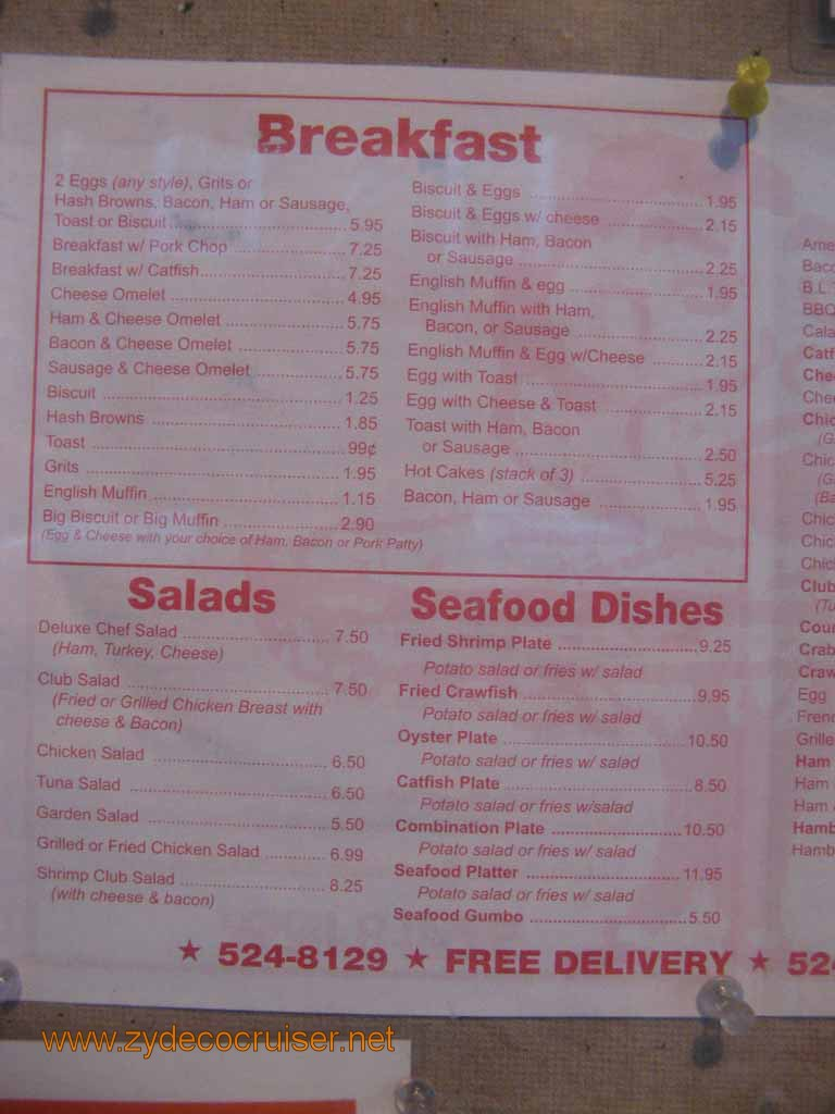Johnny's Poboys Menu, New Orleans