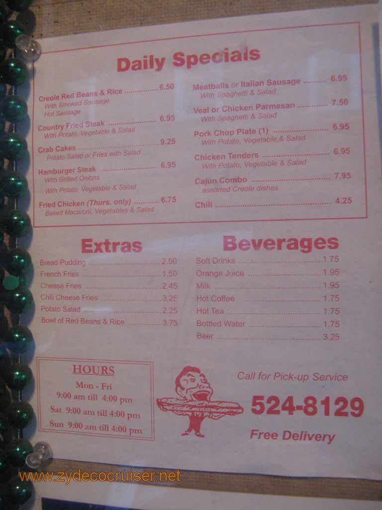 Johnny's Po-boys Restaurant Menu