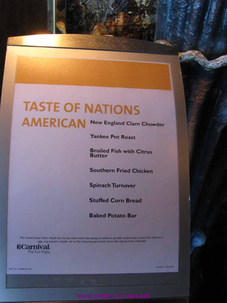 001: Carnival Cruise Lido Lunch, Taste of Nations, American Menu
