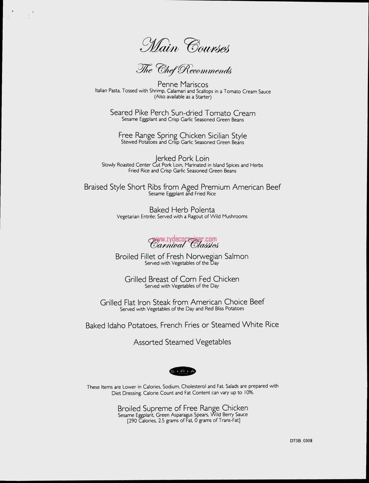 Dinner Menu, Day 2, Page 2, Carnival Freedom