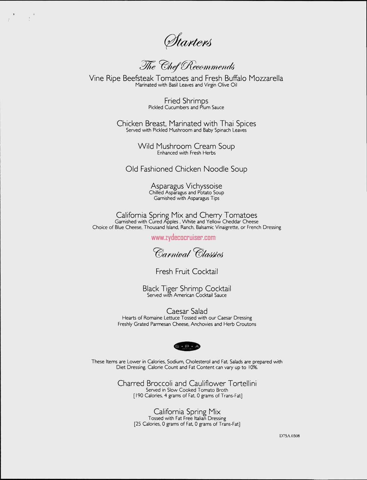 Dinner Menu, Day 4, Page 1, Carnival Freedom
