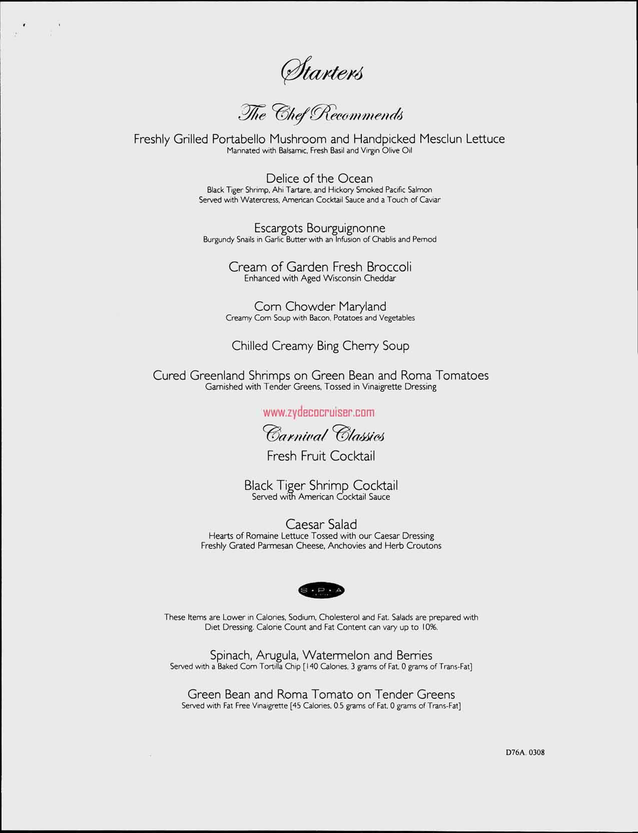 Dinner Menu, Day 5, Page 1, Carnival Freedom