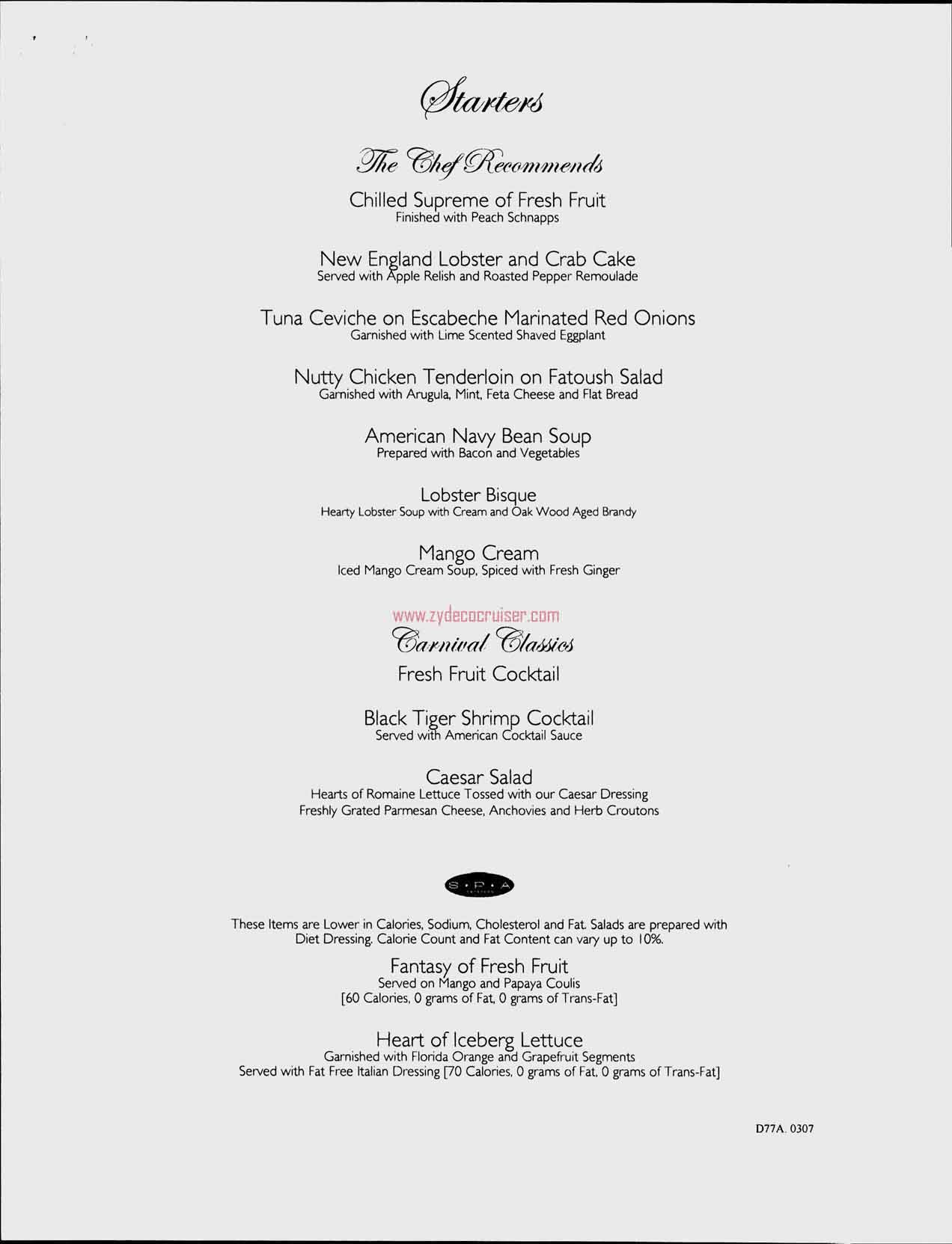 Dinner Menu, Day 6, Page 1, Carnival Freedom