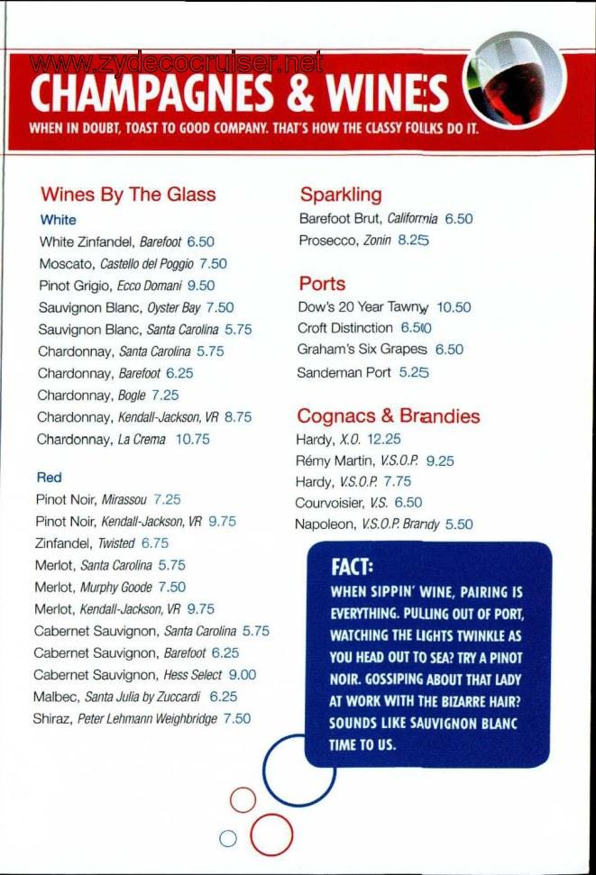 Carnival Bar Menu Page 5