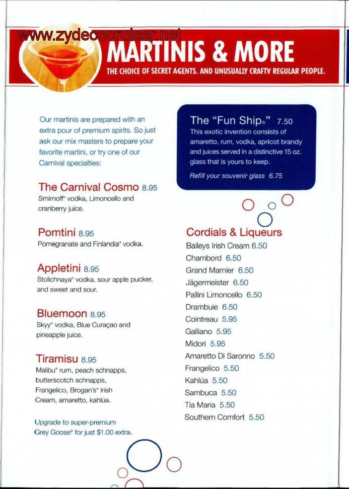 Carnival Bar Menu Page 3