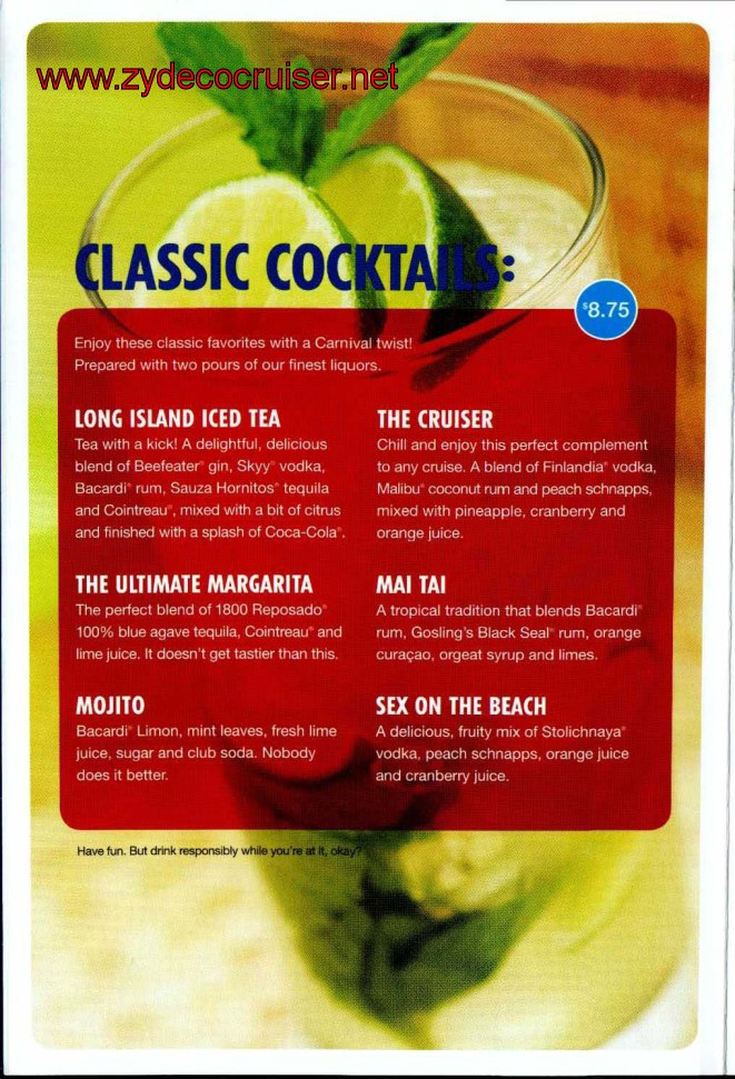 Carnival Cruise Line Drink Prices