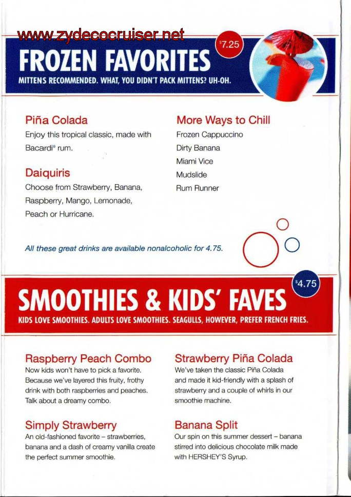 Carnival Pool Bar Menu Page 3