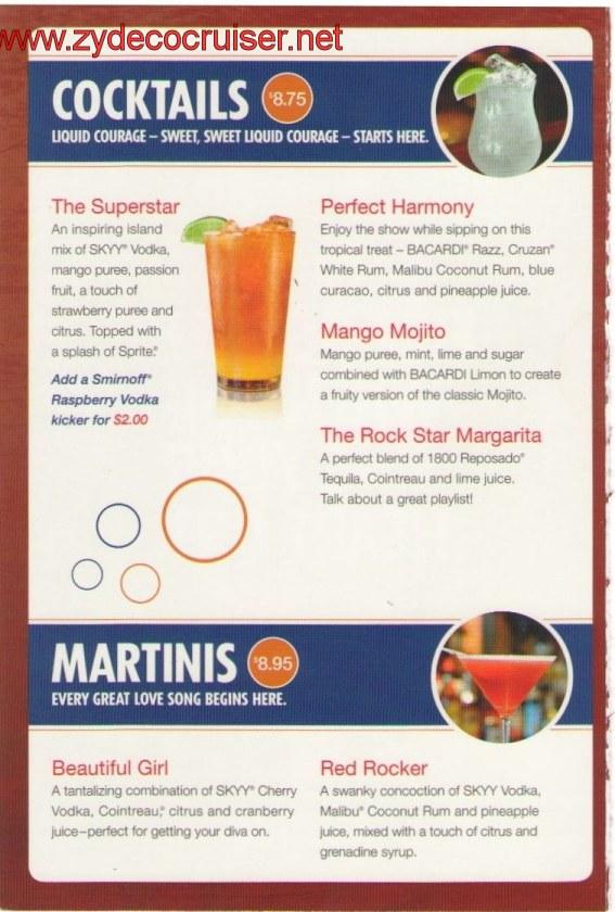 Carnival Superstar Live Karaoke Bar Menu Page 2