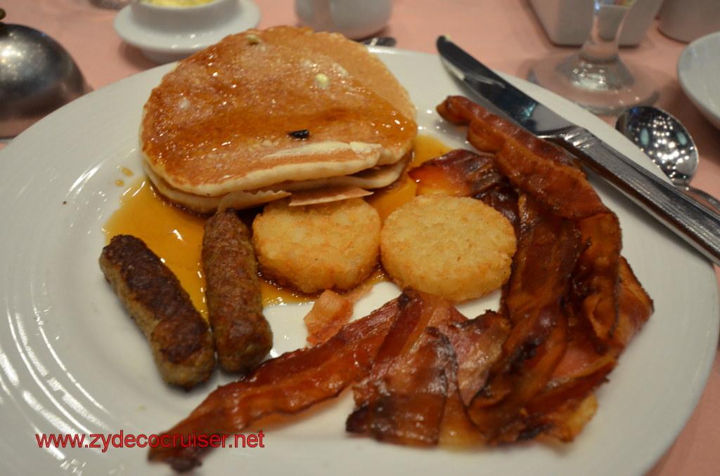 Wheat toast, bacon, sausage, hash browns, coffee