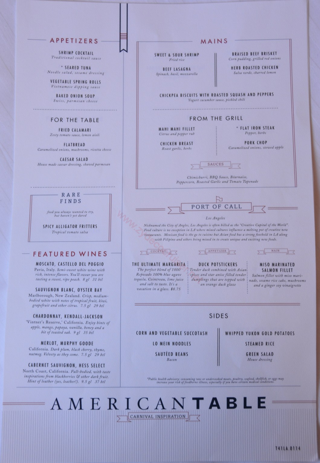 Carnival Inspiration 3 Day American Table Menus Day 1
