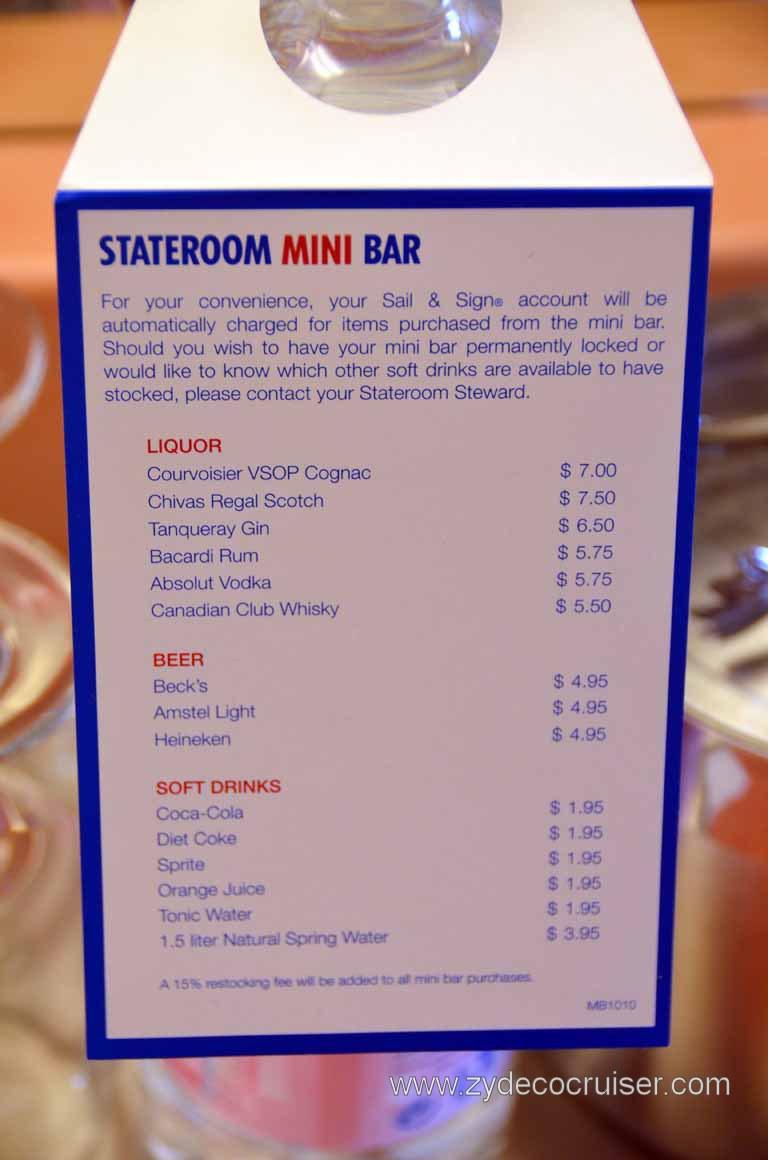 Carnival Magic Stateroom Mini Bar Menu