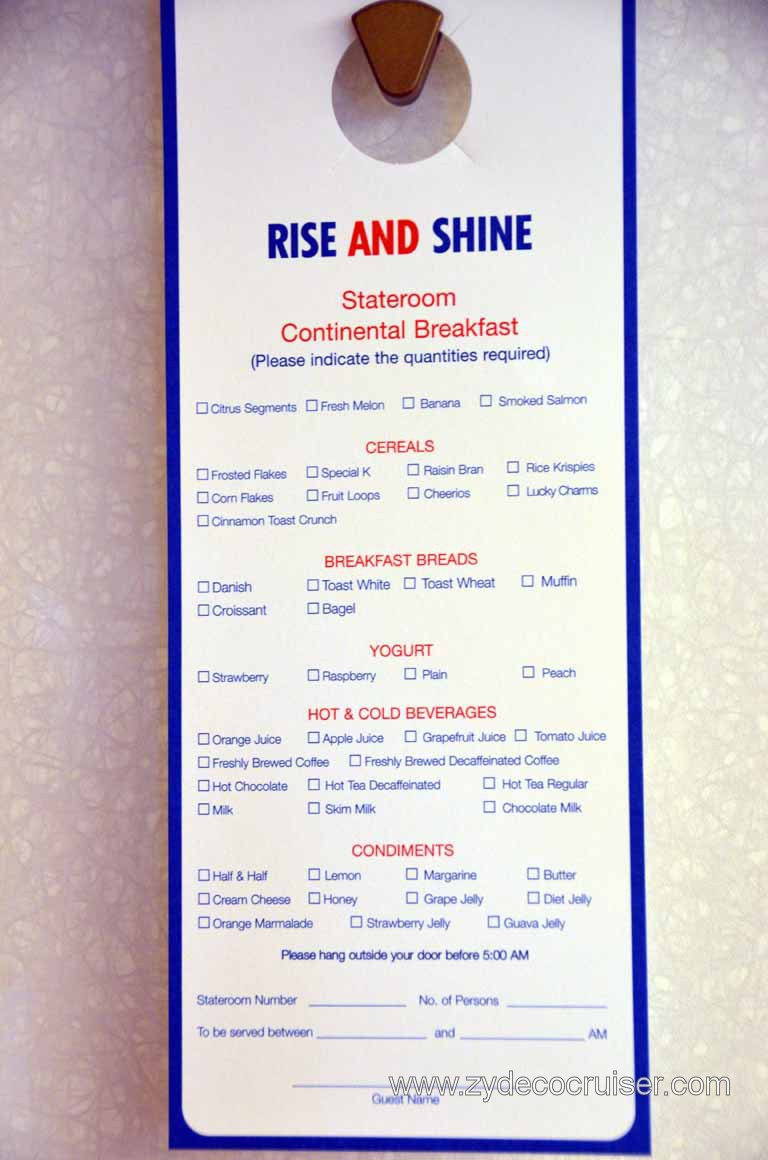Carnival Magic Door Hanger Continental Breakfast Menu