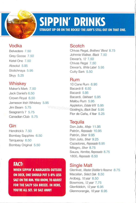 Carnival Bar Menu Page 4