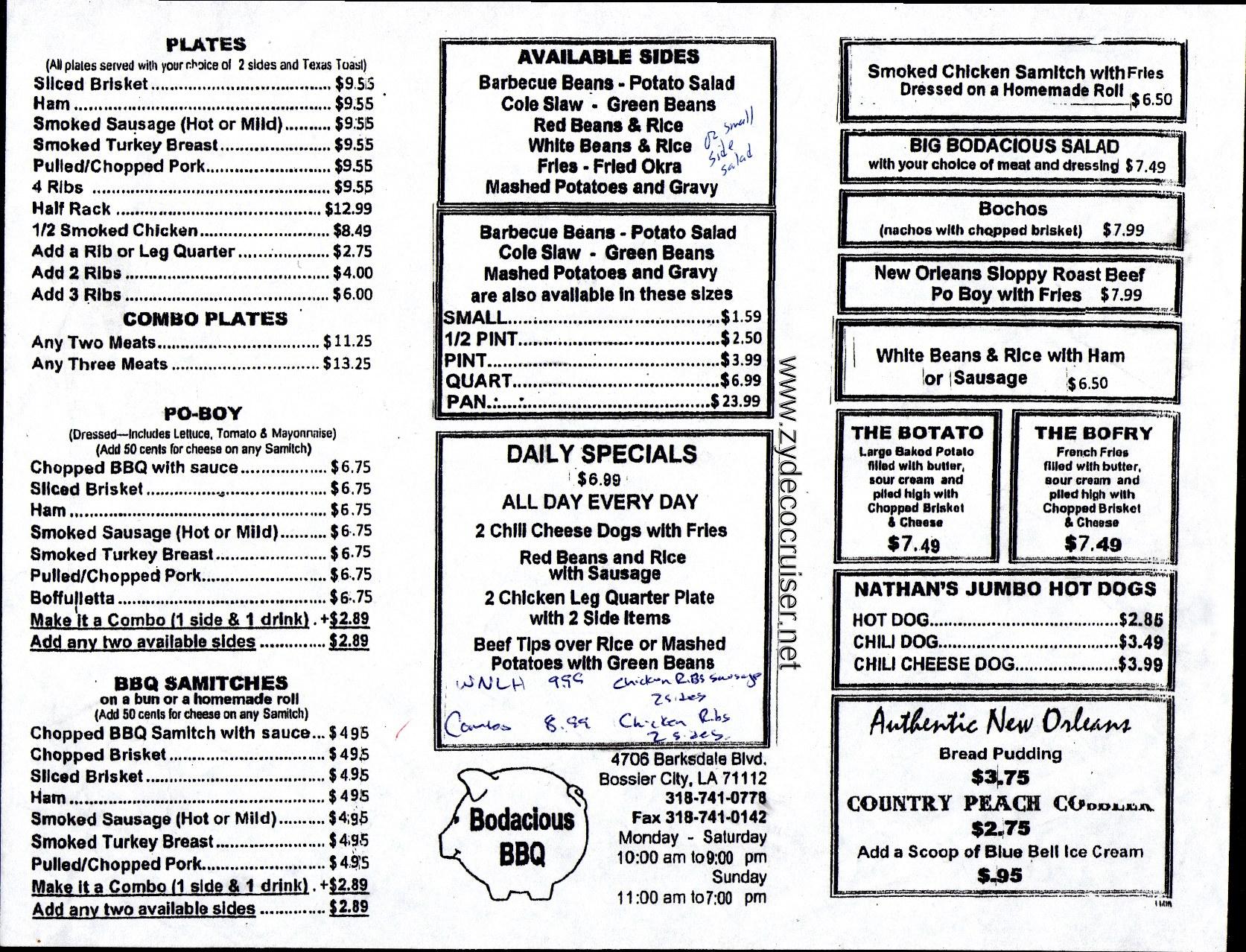 001: Bodacious BBQ, Bossier City, Menu Louisiana